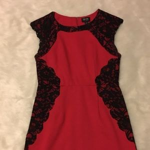 Nicole by Nicole Miller Red with Black Lace Dress